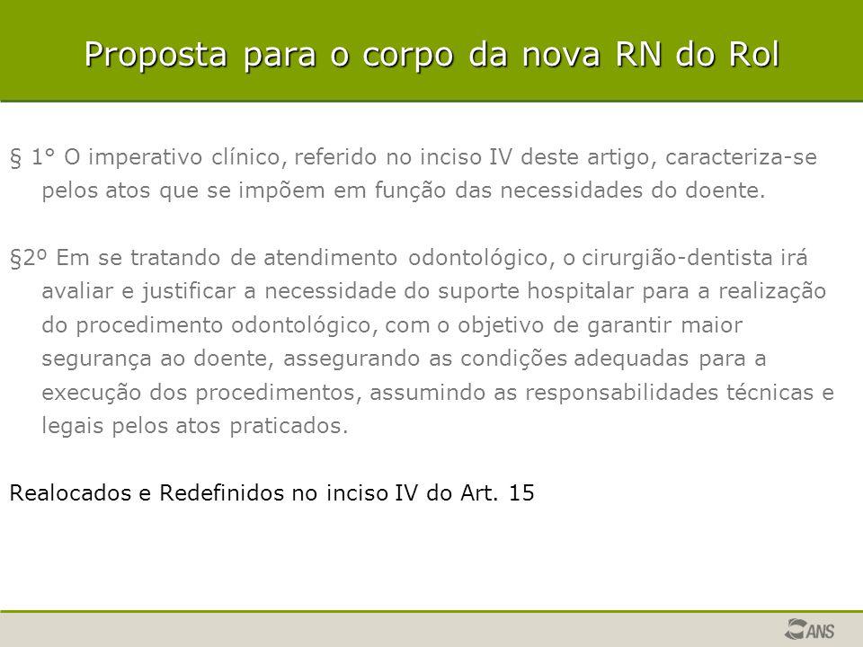 Proposta para o corpo da nova RN do Rol § 1° O imperativo clínico, referido no inciso IV deste artigo, caracteriza-se pelos atos que se impõem em funç
