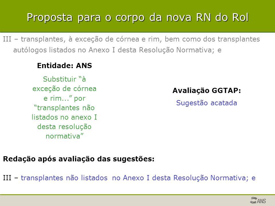 Proposta para o corpo da nova RN do Rol III – transplantes, à exceção de córnea e rim, bem como dos transplantes autólogos listados no Anexo I desta R