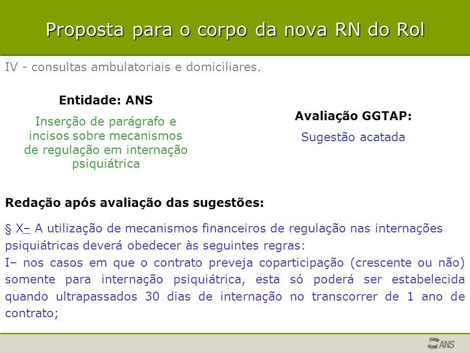 Proposta para o corpo da nova RN do Rol IV - consultas ambulatoriais e domiciliares. Entidade: ANS Inserção de parágrafo e incisos sobre mecanismos de