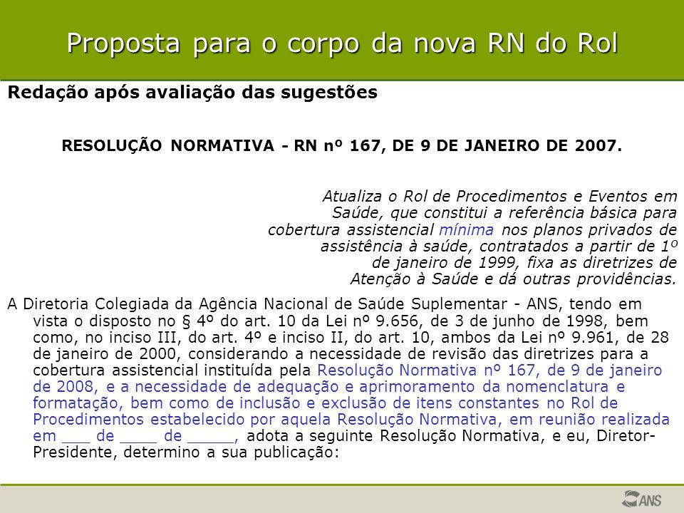 Proposta para o corpo da nova RN do Rol Redação após avaliação das sugestões RESOLUÇÃO NORMATIVA - RN nº 167, DE 9 DE JANEIRO DE 2007. Atualiza o Rol