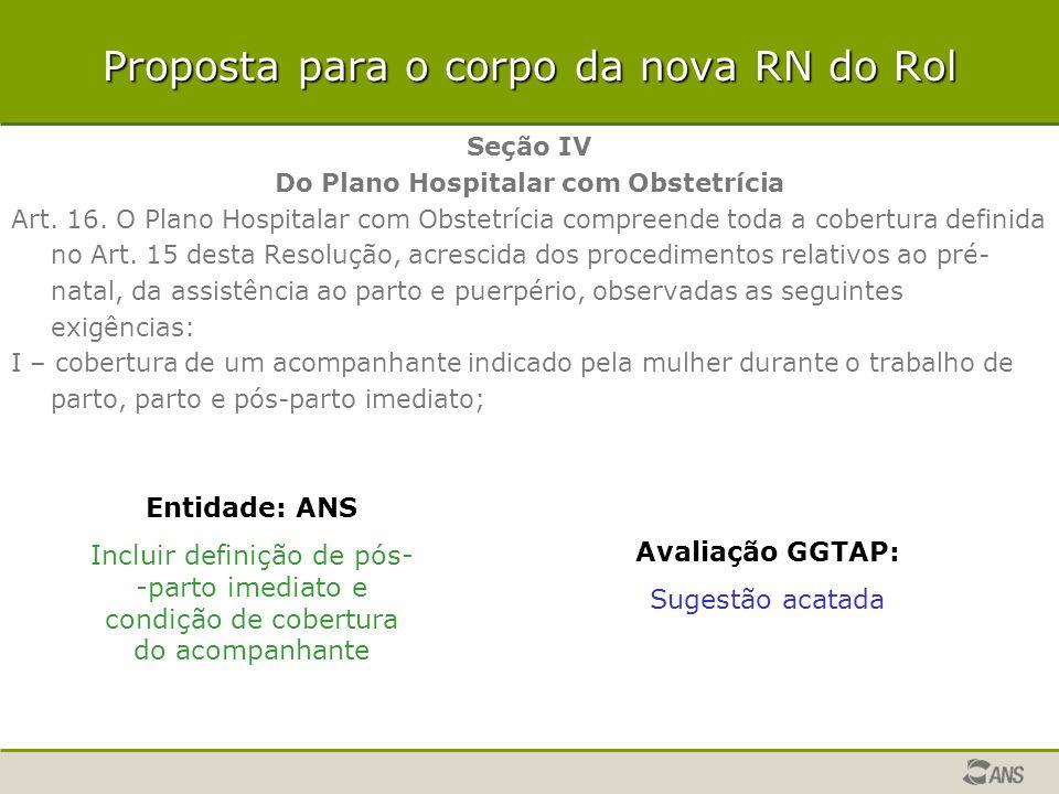 Proposta para o corpo da nova RN do Rol Seção IV Do Plano Hospitalar com Obstetrícia Art. 16. O Plano Hospitalar com Obstetrícia compreende toda a cob