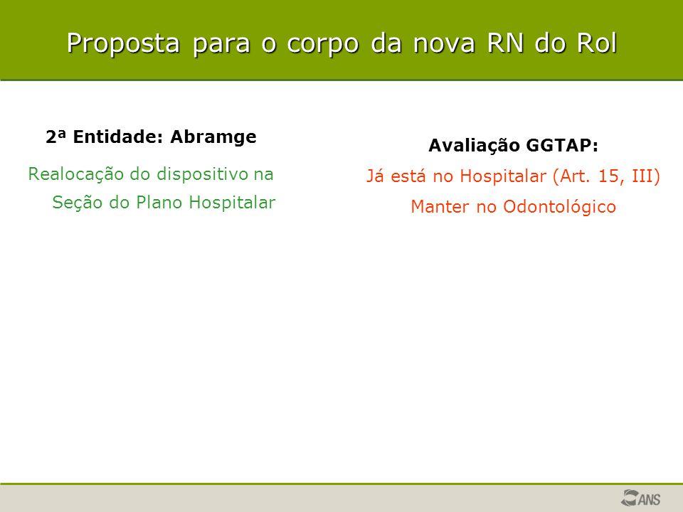 Proposta para o corpo da nova RN do Rol 2ª Entidade: Abramge Realocação do dispositivo na Seção do Plano Hospitalar Avaliação GGTAP: Já está no Hospit
