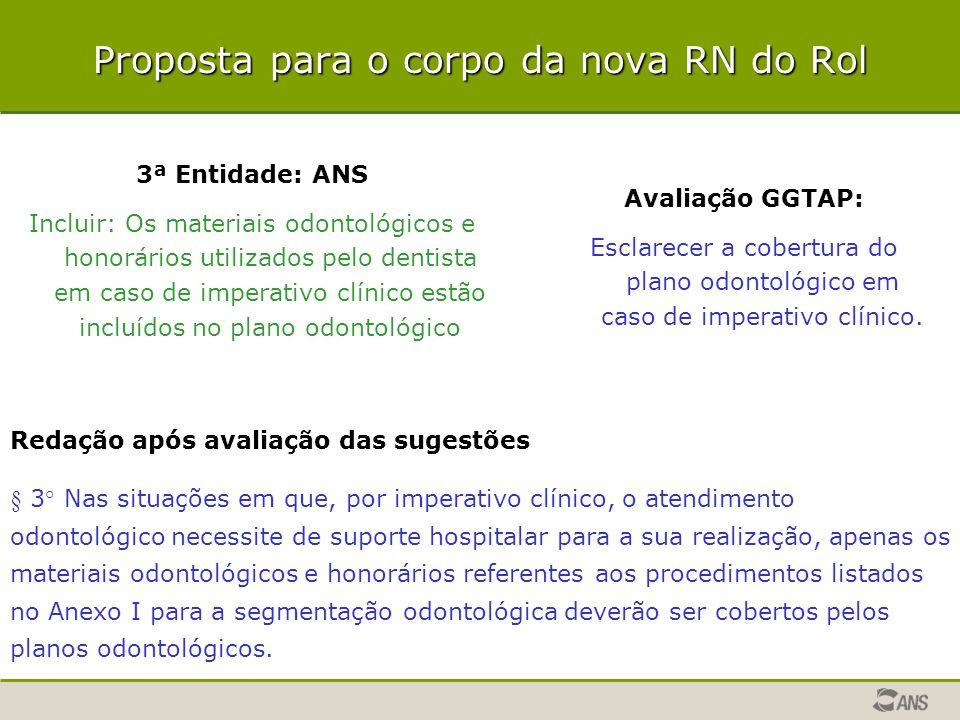 Proposta para o corpo da nova RN do Rol 3ª Entidade: ANS Incluir: Os materiais odontológicos e honorários utilizados pelo dentista em caso de imperati