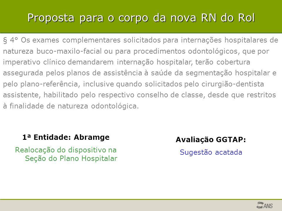 Proposta para o corpo da nova RN do Rol 1ª Entidade: Abramge Realocação do dispositivo na Seção do Plano Hospitalar Avaliação GGTAP: Sugestão acatada