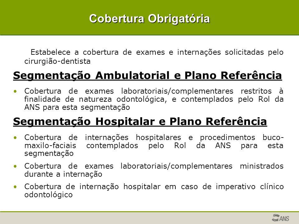 Cobertura Obrigatória Estabelece a cobertura de exames e internações solicitadas pelo cirurgião-dentista Segmentação Ambulatorial e Plano Referência C