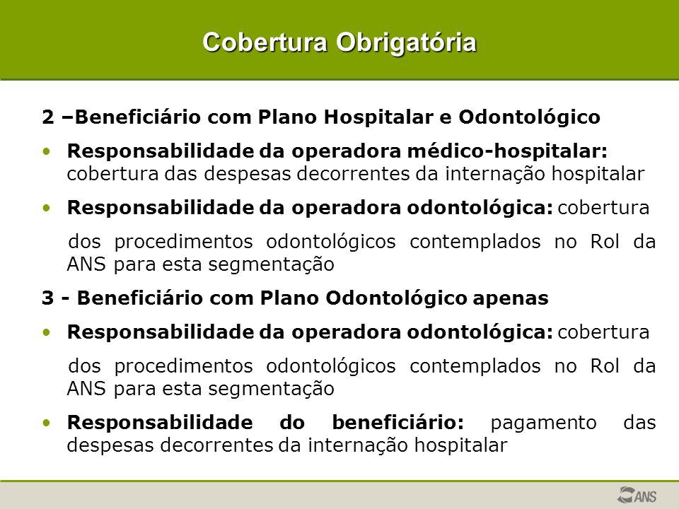 Cobertura Obrigatória 2 –Beneficiário com Plano Hospitalar e Odontológico Responsabilidade da operadora médico-hospitalar: cobertura das despesas deco