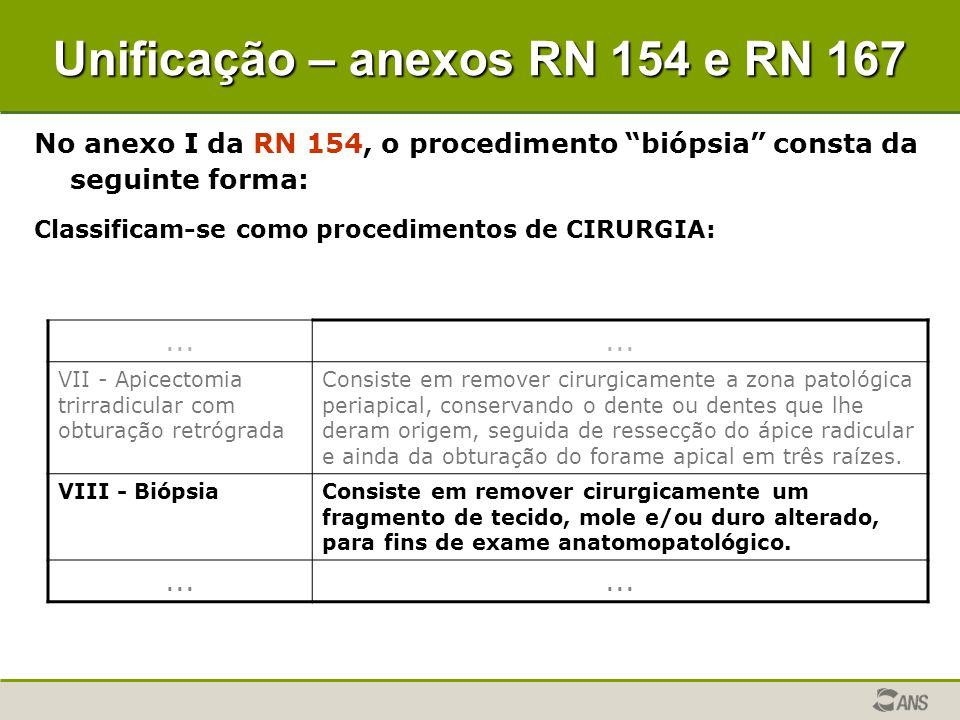 "No anexo I da RN 154, o procedimento ""biópsia"" consta da seguinte forma: Classificam-se como procedimentos de CIRURGIA:... VII - Apicectomia trirradic"