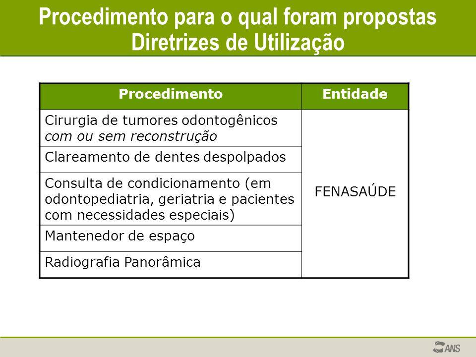 Procedimento para o qual foram propostas Diretrizes de Utilização ProcedimentoEntidade Cirurgia de tumores odontogênicos com ou sem reconstrução FENAS
