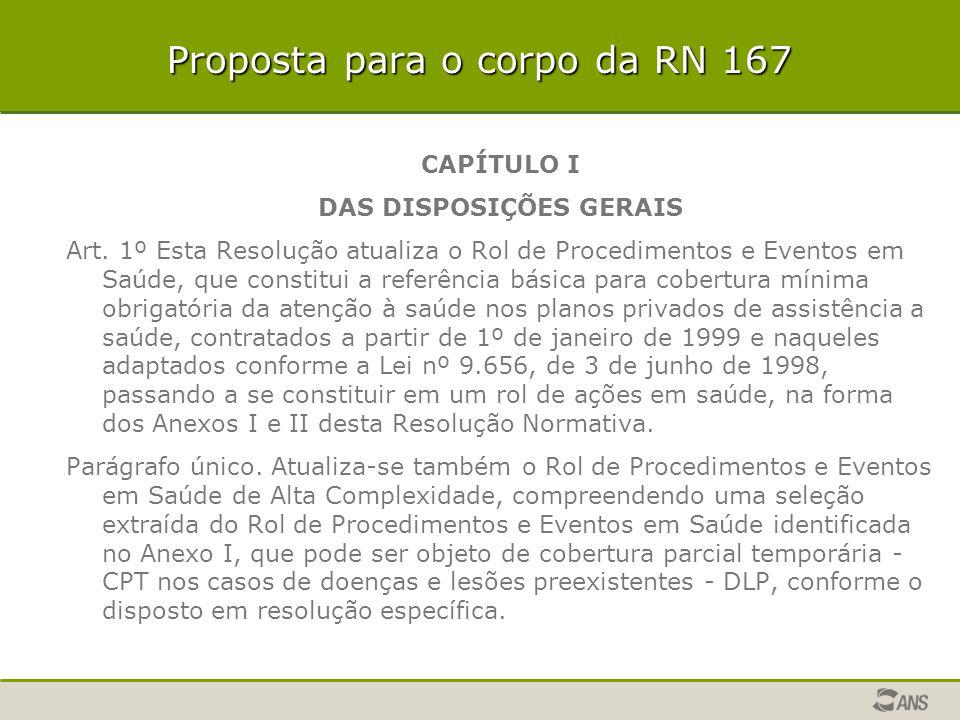 Proposta para o corpo da RN 167 CAPÍTULO I DAS DISPOSIÇÕES GERAIS Art. 1º Esta Resolução atualiza o Rol de Procedimentos e Eventos em Saúde, que const