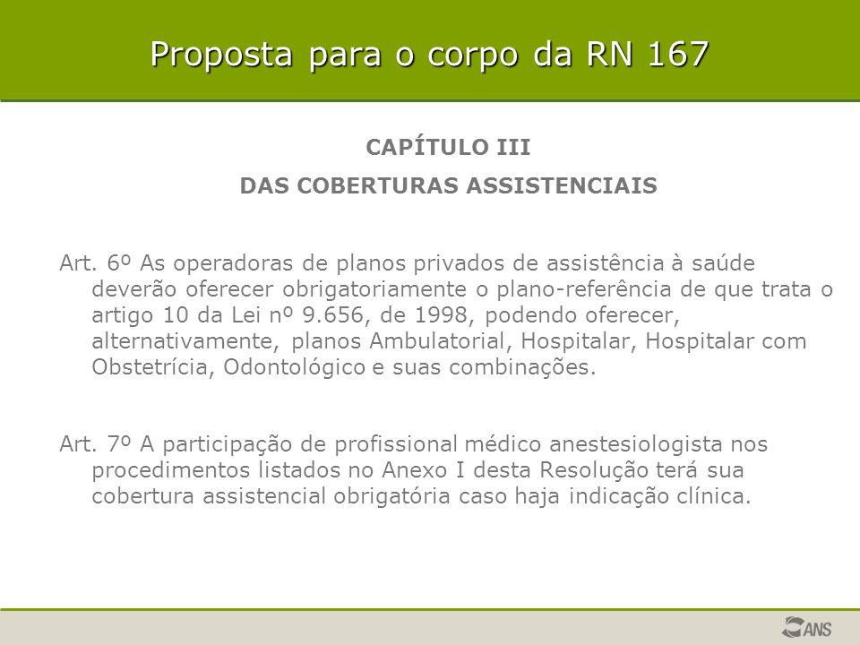 Proposta para o corpo da RN 167 CAPÍTULO III DAS COBERTURAS ASSISTENCIAIS Art. 6º As operadoras de planos privados de assistência à saúde deverão ofer
