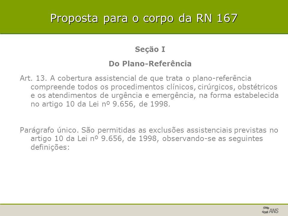 Proposta para o corpo da RN 167 Seção I Do Plano-Referência Art. 13. A cobertura assistencial de que trata o plano-referência compreende todos os proc