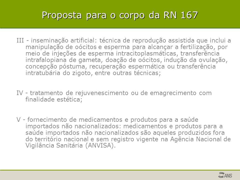 Proposta para o corpo da RN 167 III - inseminação artificial: técnica de reprodução assistida que inclui a manipulação de oócitos e esperma para alcan