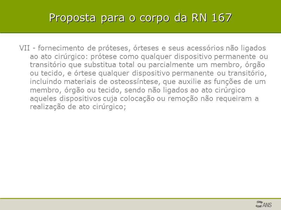 Proposta para o corpo da RN 167 VII - fornecimento de próteses, órteses e seus acessórios não ligados ao ato cirúrgico: prótese como qualquer disposit