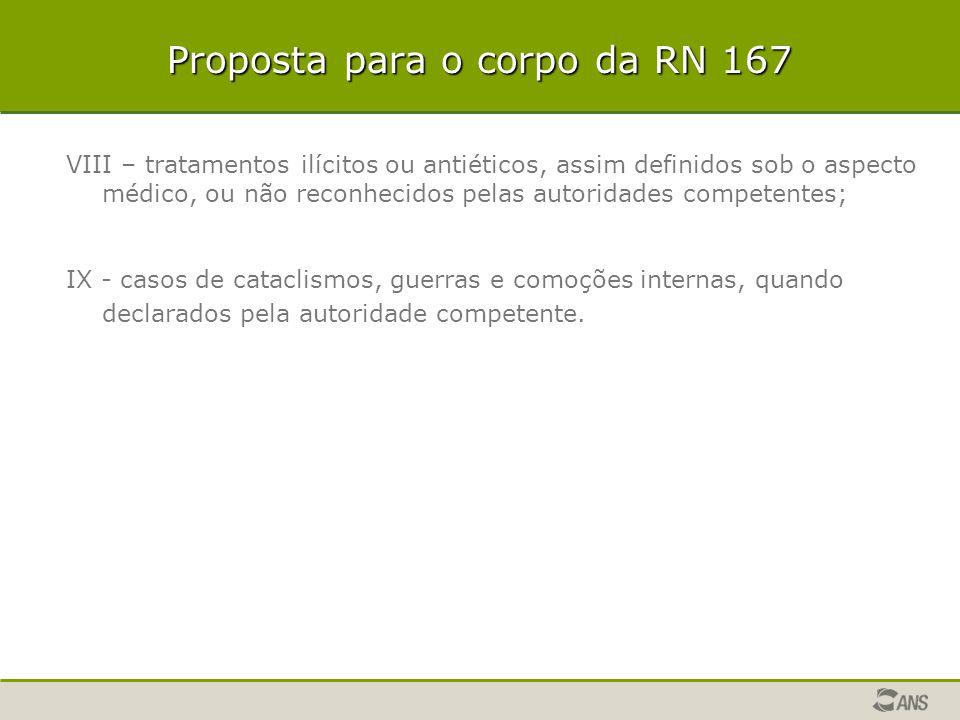 Proposta para o corpo da RN 167 VIII – tratamentos ilícitos ou antiéticos, assim definidos sob o aspecto médico, ou não reconhecidos pelas autoridades