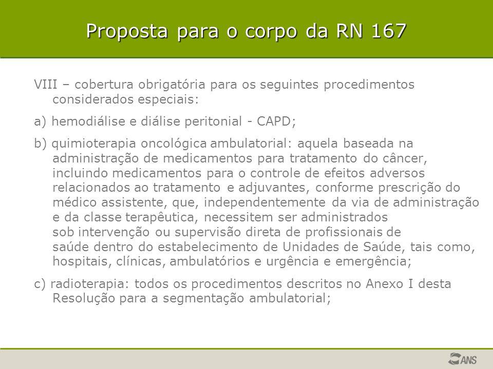 Proposta para o corpo da RN 167 VIII – cobertura obrigatória para os seguintes procedimentos considerados especiais: a) hemodiálise e diálise peritoni