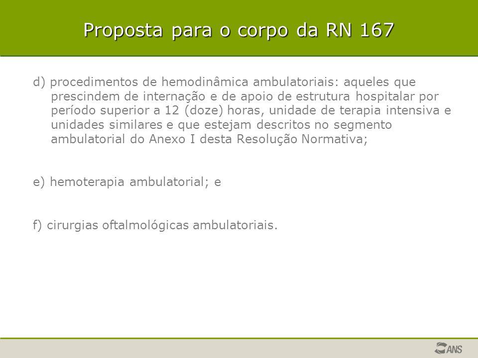 Proposta para o corpo da RN 167 d) procedimentos de hemodinâmica ambulatoriais: aqueles que prescindem de internação e de apoio de estrutura hospitala