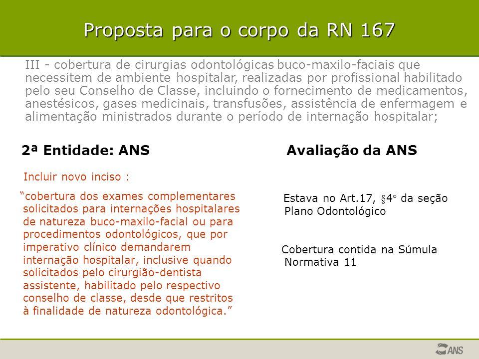 """Proposta para o corpo da RN 167 Incluir novo inciso : """"cobertura dos exames complementares solicitados para internações hospitalares de natureza buco-"""