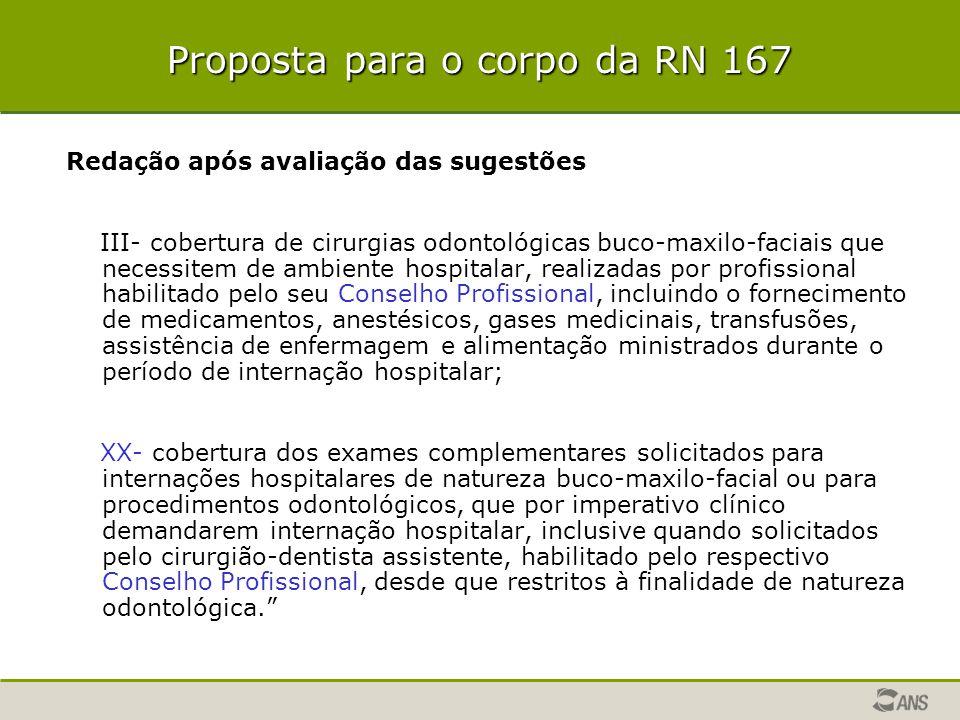 Proposta para o corpo da RN 167 Redação após avaliação das sugestões III- cobertura de cirurgias odontológicas buco-maxilo-faciais que necessitem de a