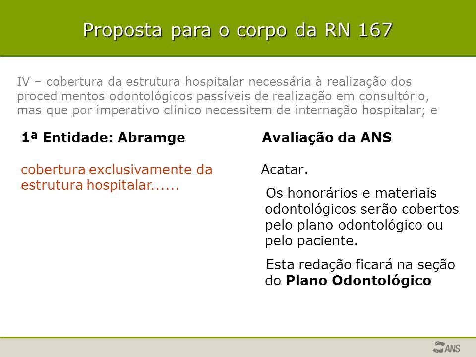 Proposta para o corpo da RN 167 Acatar. Os honorários e materiais odontológicos serão cobertos pelo plano odontológico ou pelo paciente. Esta redação