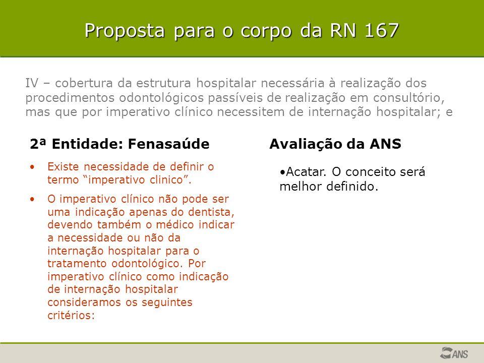 """Proposta para o corpo da RN 167 2ª Entidade: Fenasaúde Existe necessidade de definir o termo """"imperativo clinico"""". O imperativo clínico não pode ser u"""