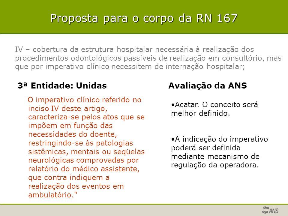 Proposta para o corpo da RN 167 3ª Entidade: Unidas O imperativo clínico referido no inciso IV deste artigo, caracteriza-se pelos atos que se impõem e