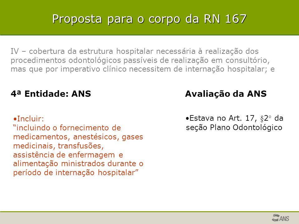 Proposta para o corpo da RN 167 IV – cobertura da estrutura hospitalar necessária à realização dos procedimentos odontológicos passíveis de realização