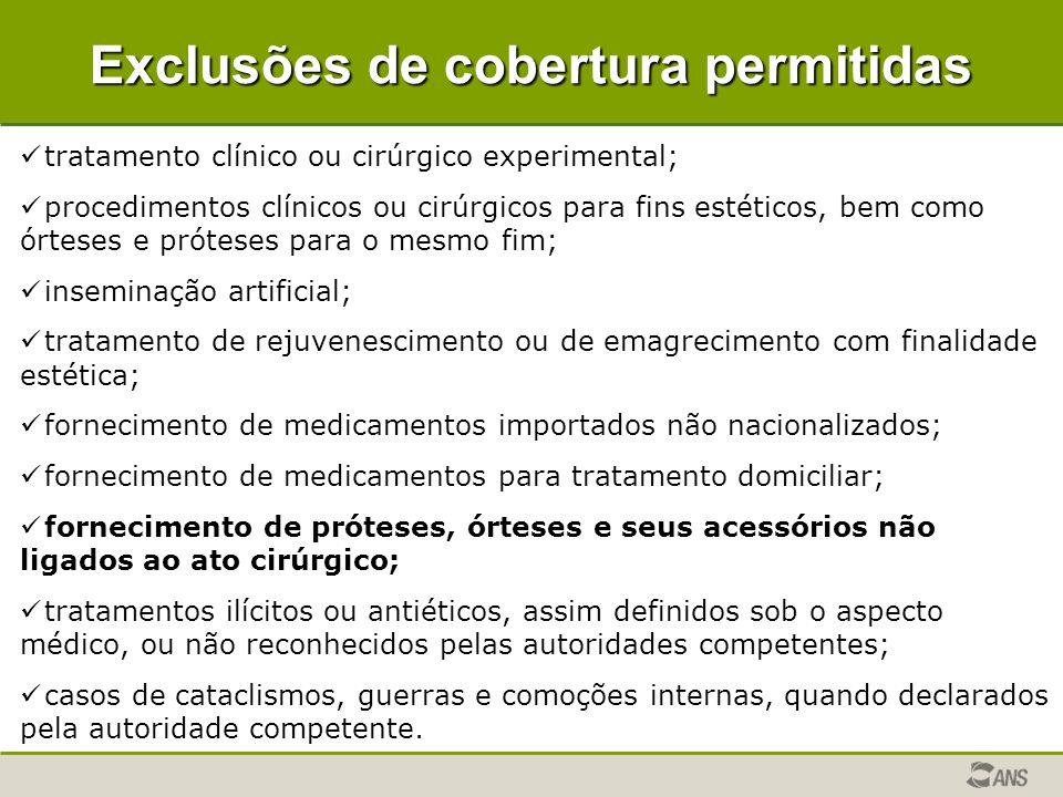 Exclusões de cobertura permitidas tratamento clínico ou cirúrgico experimental; procedimentos clínicos ou cirúrgicos para fins estéticos, bem como órt