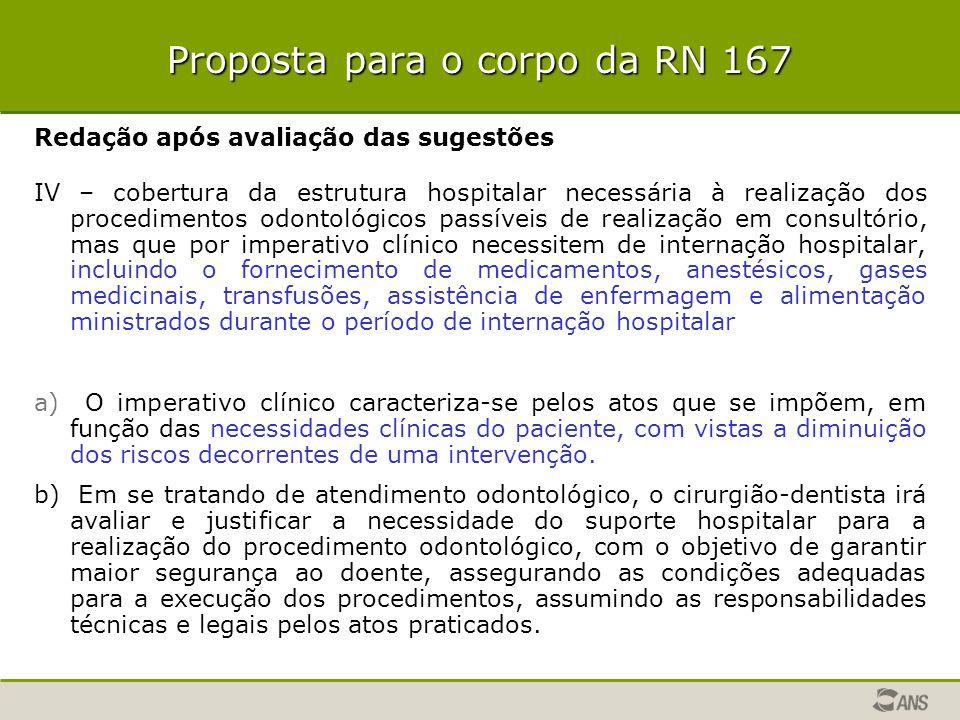 Proposta para o corpo da RN 167 Redação após avaliação das sugestões IV – cobertura da estrutura hospitalar necessária à realização dos procedimentos