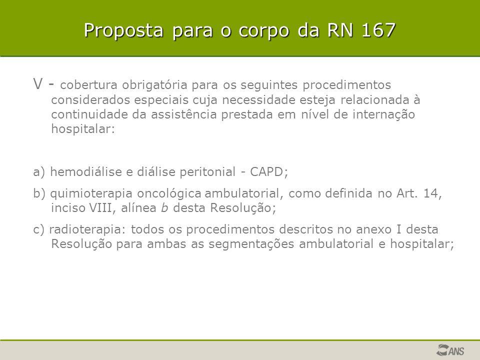 Proposta para o corpo da RN 167 V - cobertura obrigatória para os seguintes procedimentos considerados especiais cuja necessidade esteja relacionada à