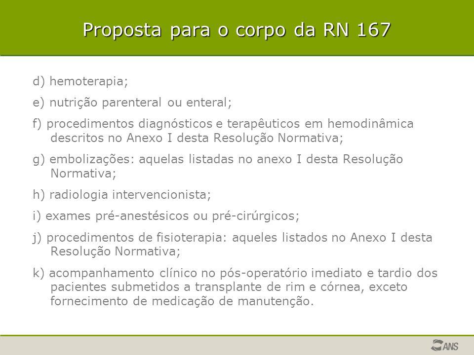 Proposta para o corpo da RN 167 d) hemoterapia; e) nutrição parenteral ou enteral; f) procedimentos diagnósticos e terapêuticos em hemodinâmica descri