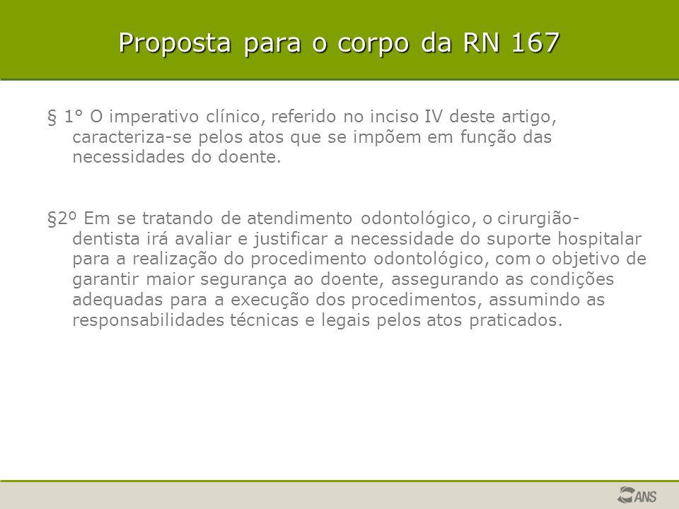 Proposta para o corpo da RN 167 § 1° O imperativo clínico, referido no inciso IV deste artigo, caracteriza-se pelos atos que se impõem em função das n