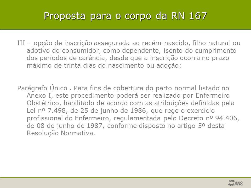 Proposta para o corpo da RN 167 III – opção de inscrição assegurada ao recém-nascido, filho natural ou adotivo do consumidor, como dependente, isento