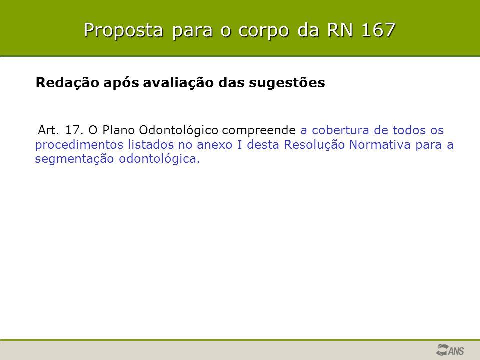 Proposta para o corpo da RN 167 Redação após avaliação das sugestões Art. 17. O Plano Odontológico compreende a cobertura de todos os procedimentos li