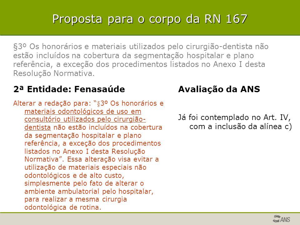"""Proposta para o corpo da RN 167 2ª Entidade: Fenasaúde Alterar a redação para: """"§3º Os honorários e materiais odontológicos de uso em consultório util"""