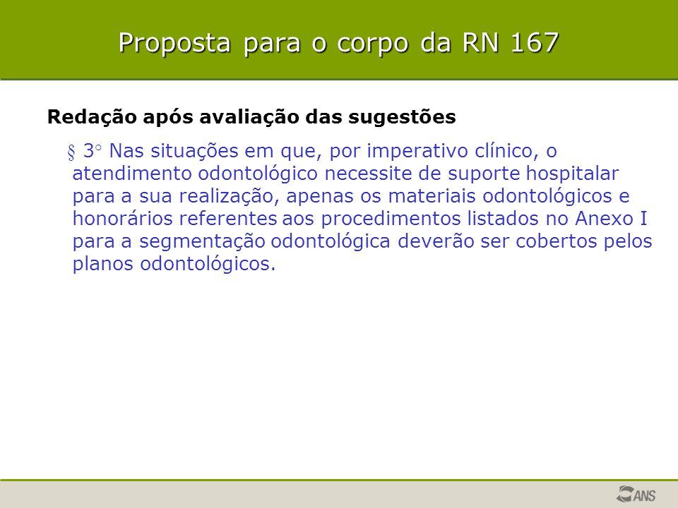 Proposta para o corpo da RN 167 Redação após avaliação das sugestões § 3° Nas situações em que, por imperativo clínico, o atendimento odontológico nec