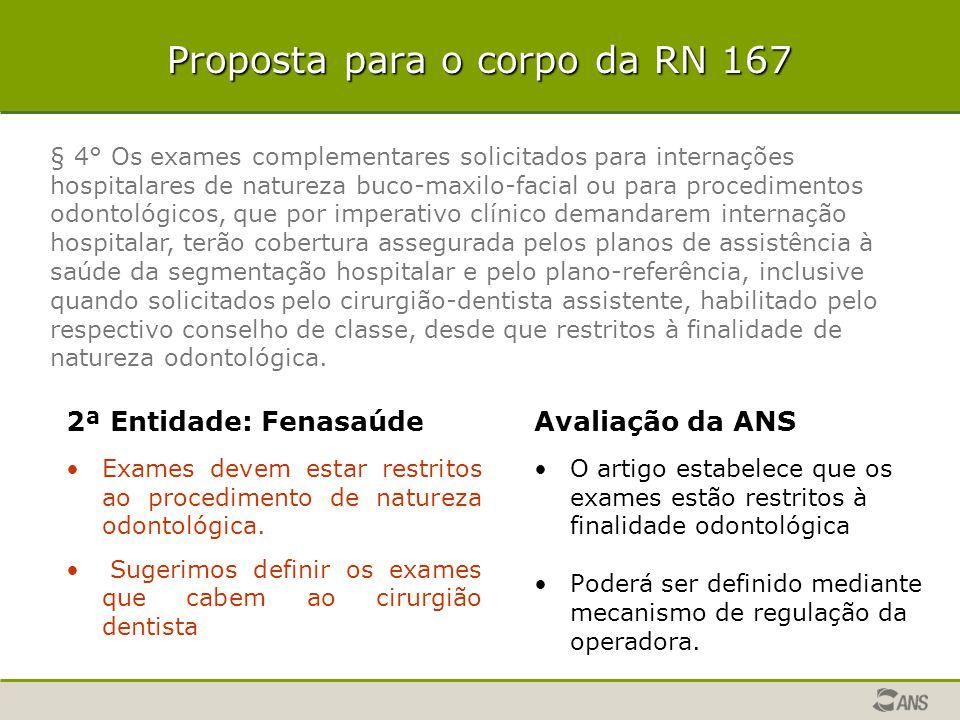 Proposta para o corpo da RN 167 2ª Entidade: Fenasaúde Exames devem estar restritos ao procedimento de natureza odontológica. Sugerimos definir os exa
