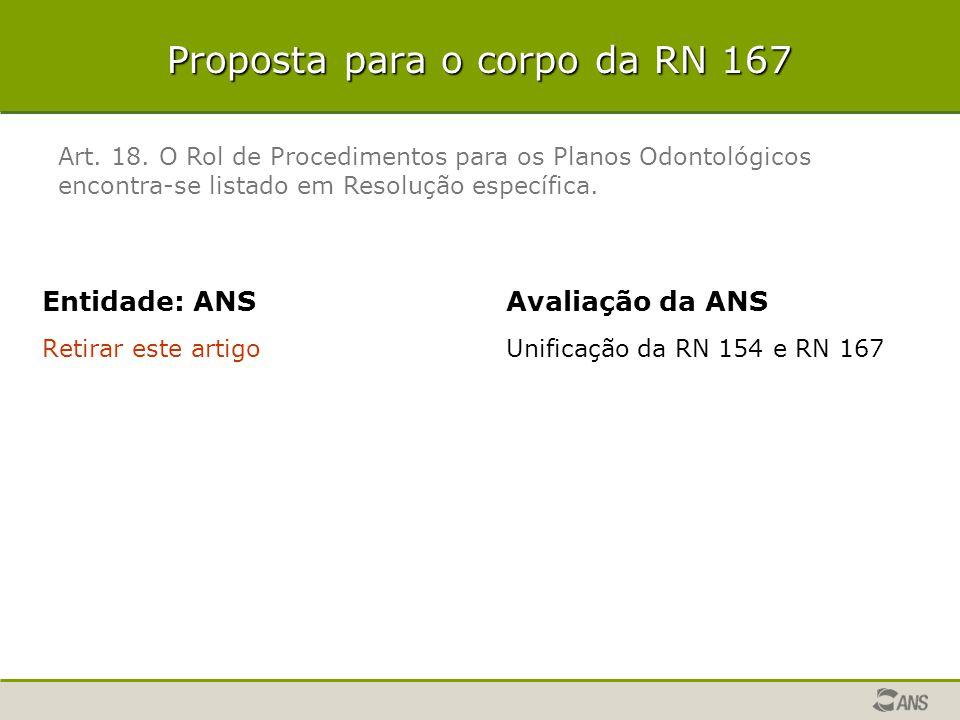 Proposta para o corpo da RN 167 Entidade: ANS Retirar este artigo Avaliação da ANS Unificação da RN 154 e RN 167 Art. 18. O Rol de Procedimentos para