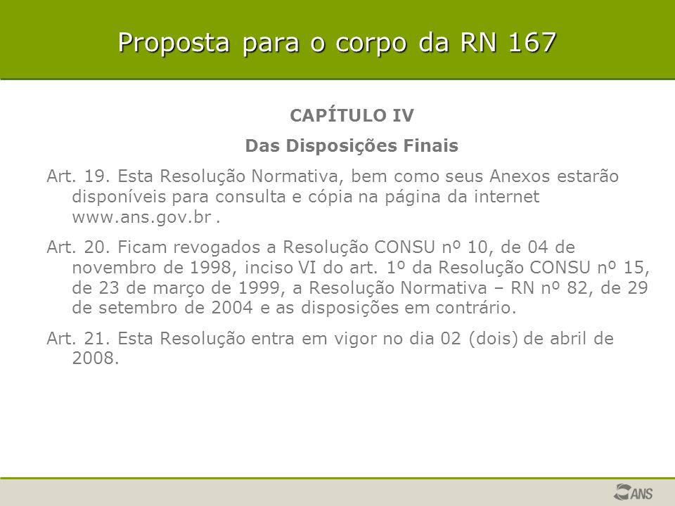 Proposta para o corpo da RN 167 CAPÍTULO IV Das Disposições Finais Art. 19. Esta Resolução Normativa, bem como seus Anexos estarão disponíveis para co