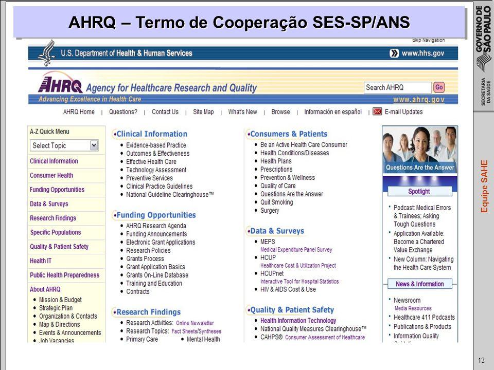 13 Equipe SAHE AHRQ – Termo de Cooperação SES-SP/ANS