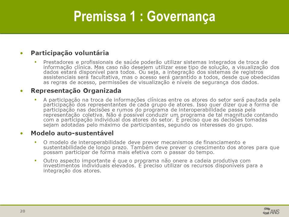 20 Premissa 1 : Governança Participação voluntária  Prestadores e profissionais de saúde poderão utilizar sistemas integrados de troca de informação