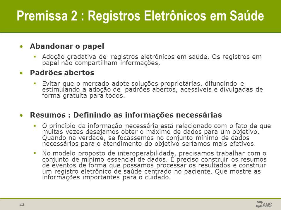 22 Premissa 2 : Registros Eletrônicos em Saúde Abandonar o papel  Adoção gradativa de registros eletrônicos em saúde. Os registros em papel não compa