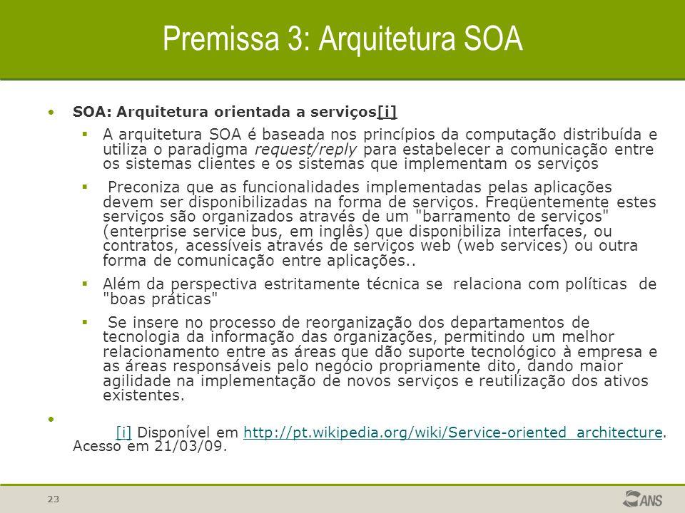 23 Premissa 3: Arquitetura SOA SOA: Arquitetura orientada a serviços[i]  A arquitetura SOA é baseada nos princípios da computação distribuída e utili