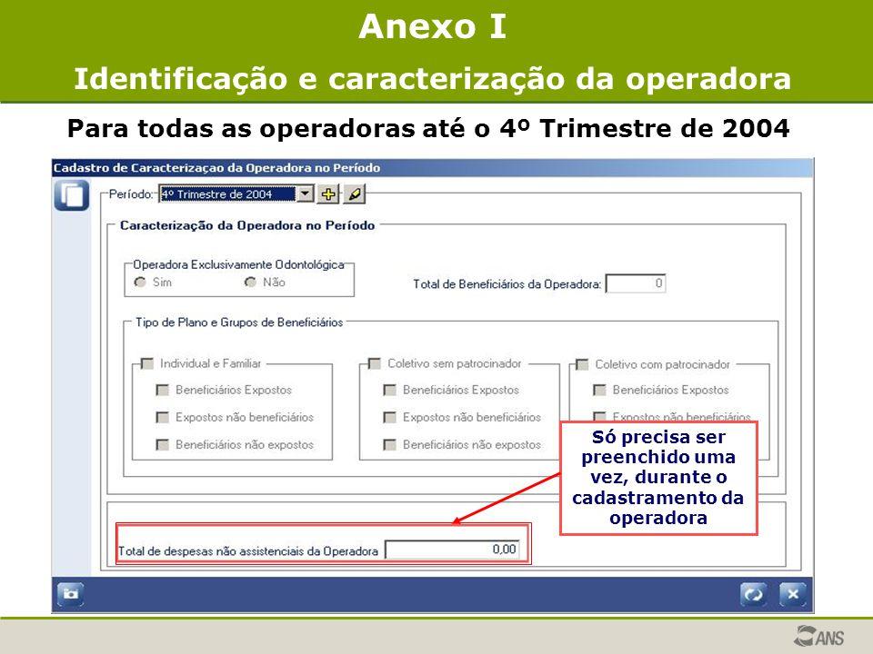 Anexo I Identificação e caracterização da operadora Para todas as operadoras até o 4º Trimestre de 2004 Só precisa ser preenchido uma vez, durante o c