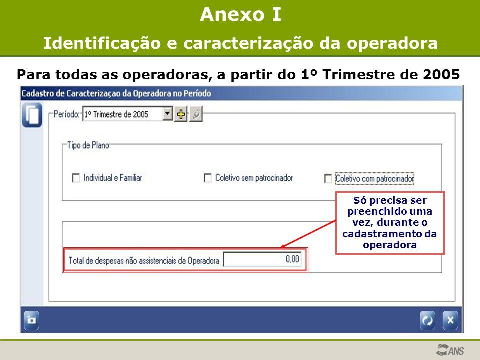 Anexo I Identificação e caracterização da operadora Para todas as operadoras, a partir do 1º Trimestre de 2005 Só precisa ser preenchido uma vez, dura