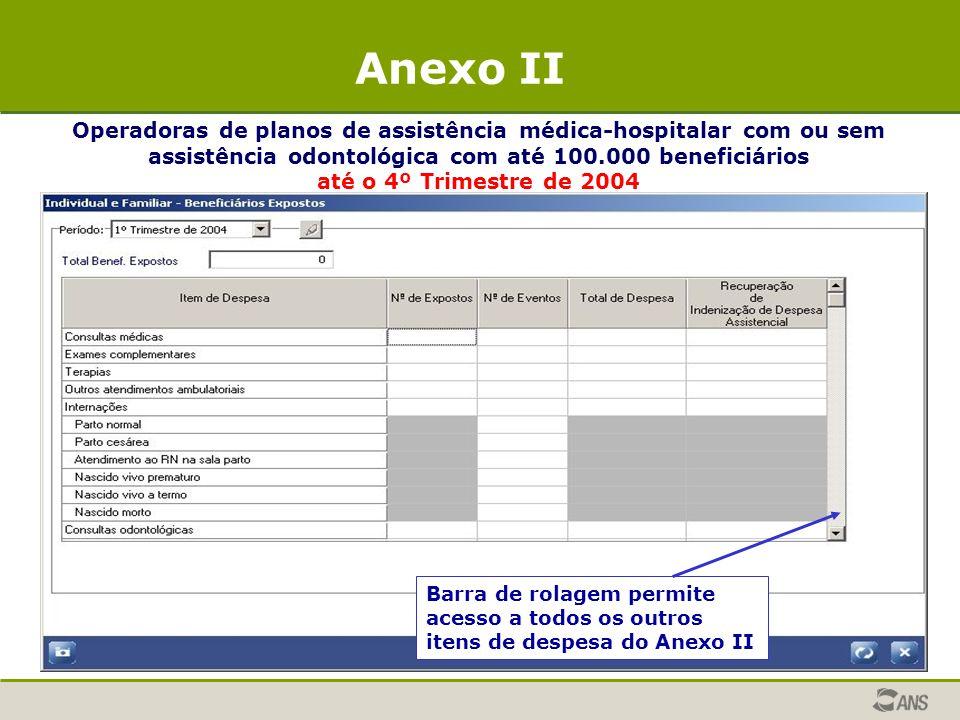 Operadoras de planos de assistência médica-hospitalar com ou sem assistência odontológica com até 100.000 beneficiários até o 4º Trimestre de 2004 Ane
