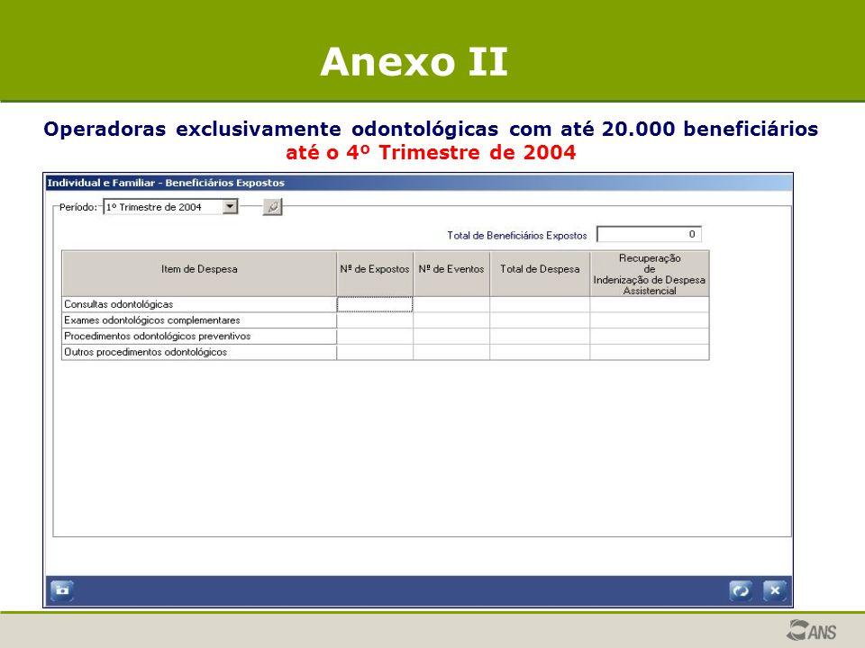 Operadoras exclusivamente odontológicas com até 20.000 beneficiários até o 4º Trimestre de 2004 Anexo II