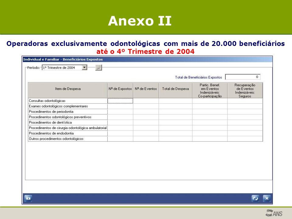Operadoras exclusivamente odontológicas com mais de 20.000 beneficiários até o 4º Trimestre de 2004 Anexo II