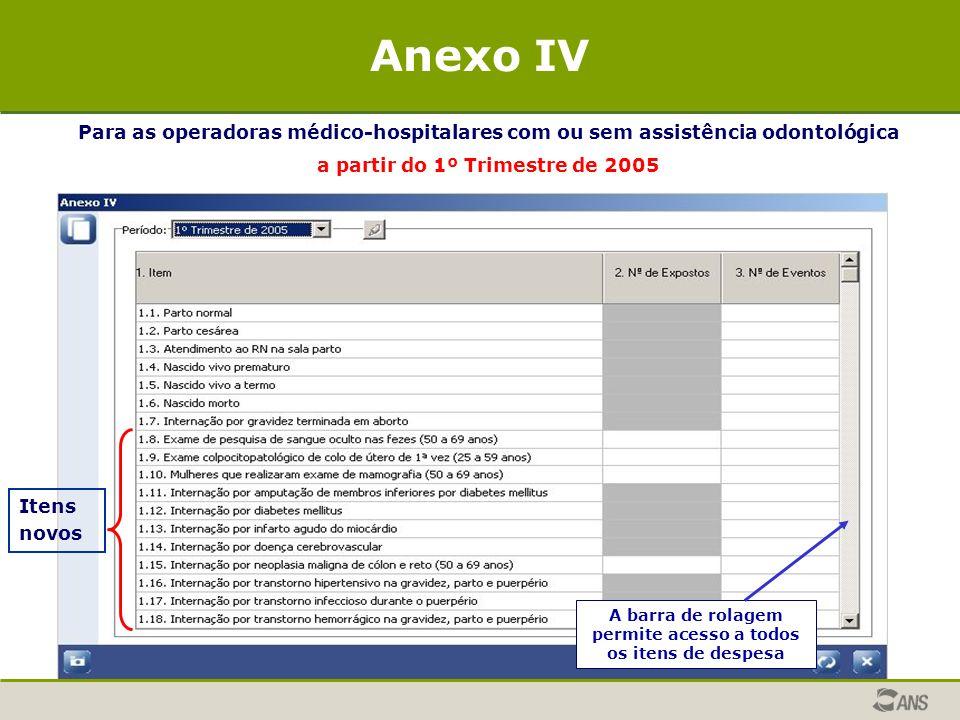 Para as operadoras médico-hospitalares com ou sem assistência odontológica a partir do 1º Trimestre de 2005 Anexo IV Itens novos A barra de rolagem pe