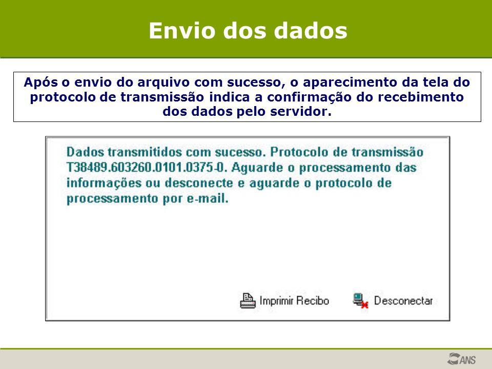 Após o envio do arquivo com sucesso, o aparecimento da tela do protocolo de transmissão indica a confirmação do recebimento dos dados pelo servidor. E