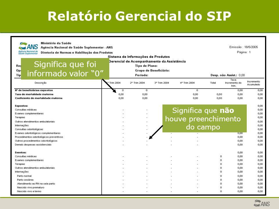 """Relatório Gerencial do SIP Significa que foi informado valor """"0"""" Significa que não houve preenchimento do campo"""